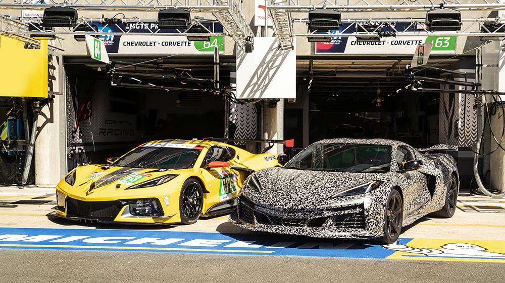 The Chevrolet C8 Corvette Z06 (right) undergoing testing in Europe