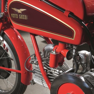 One of Moto Guzzi's vintage motorcycles in museum-quality condition.