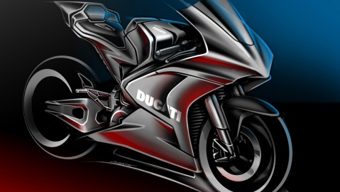 A rendering of the future electric racer from Ducati.