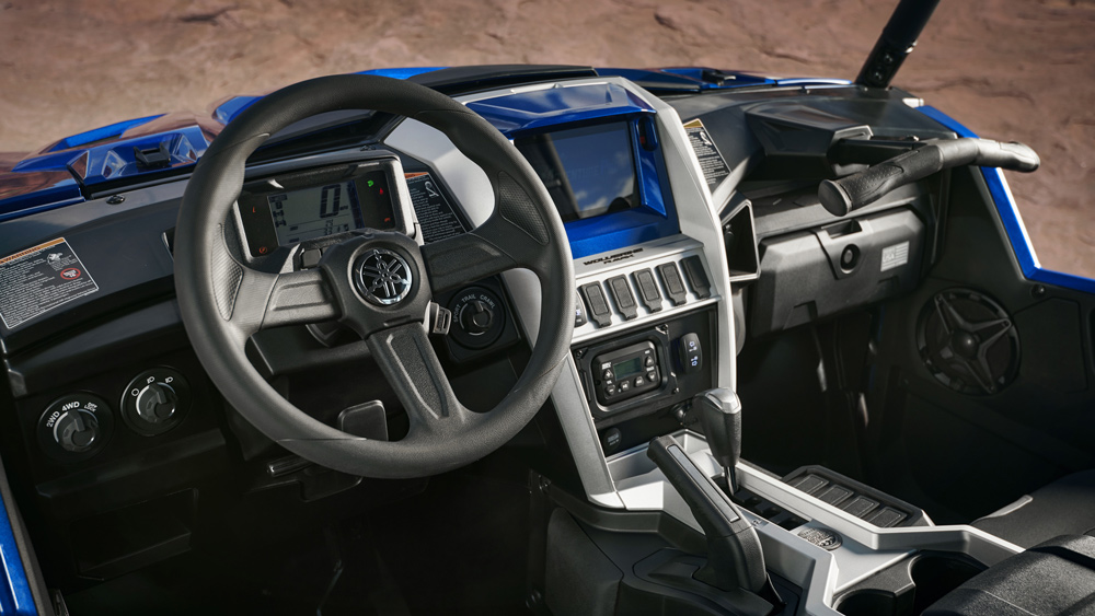 The cockpit of the 2021 Yamaha Wolverine RMAX 1000 Limited Edition.