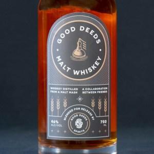 good deeds malt whiskey bottle