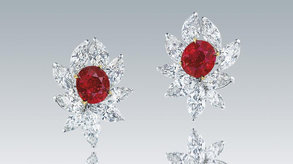 Pigeon's Blood Ruby Earrings