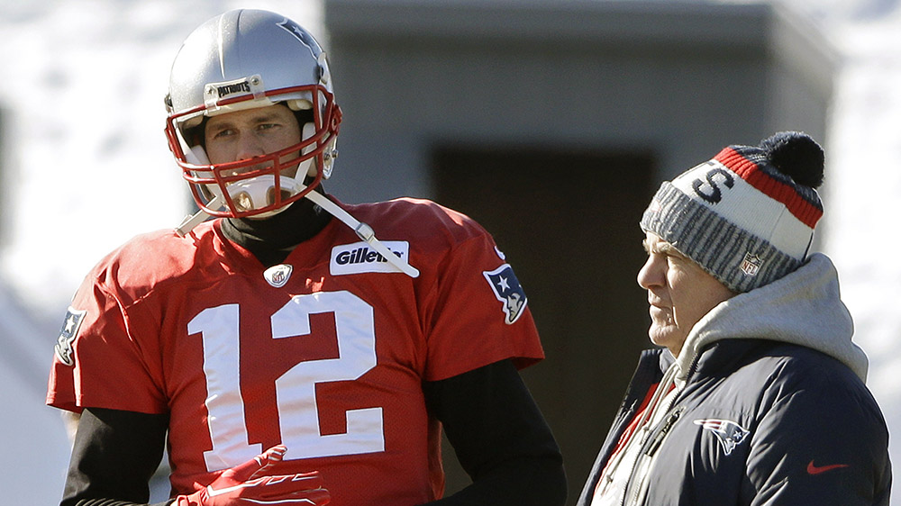 Tom Brady and New England Patriot coach Bill Belichick in 2018
