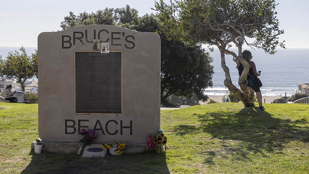 A marker on the land that used to be Bruce's Beach
