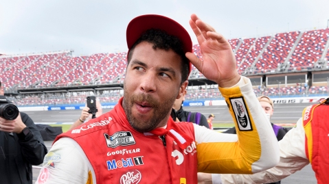 Bubba Wallace celebrates his first career NASCAR Cup Series victory