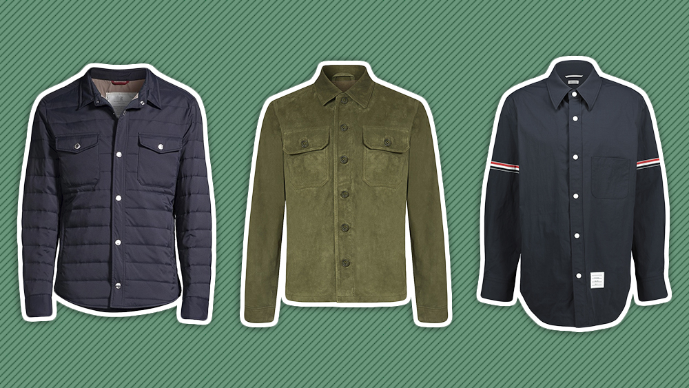 Shirt jakcets from Brunello Cucinelli, Schott and Thom Browne.