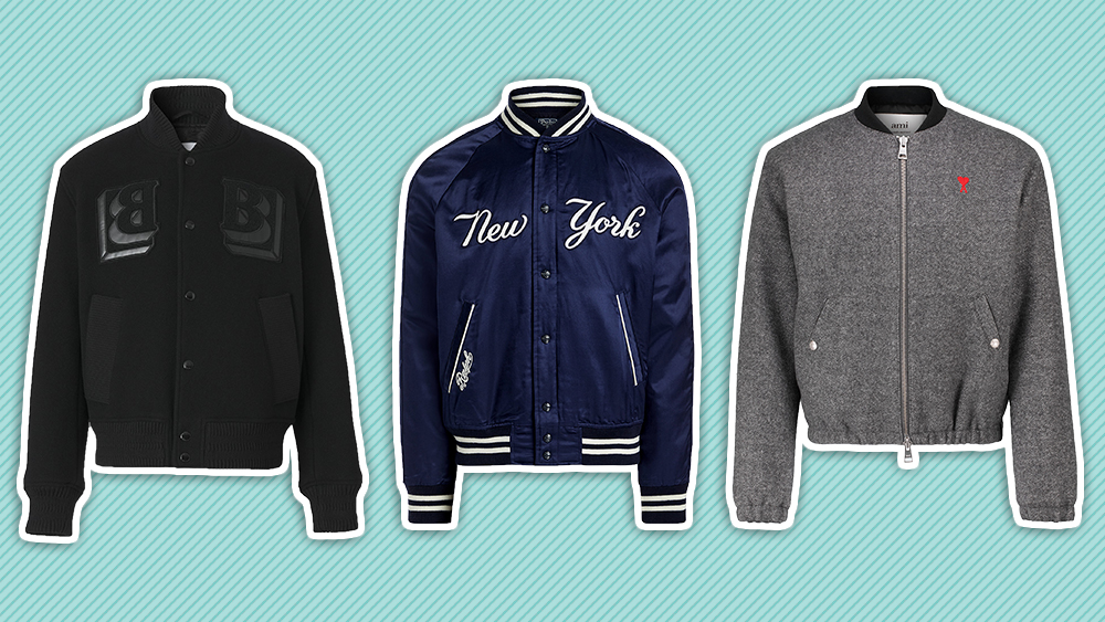 Varsity jackets by Burberry, Ralph Lauren and Ami.