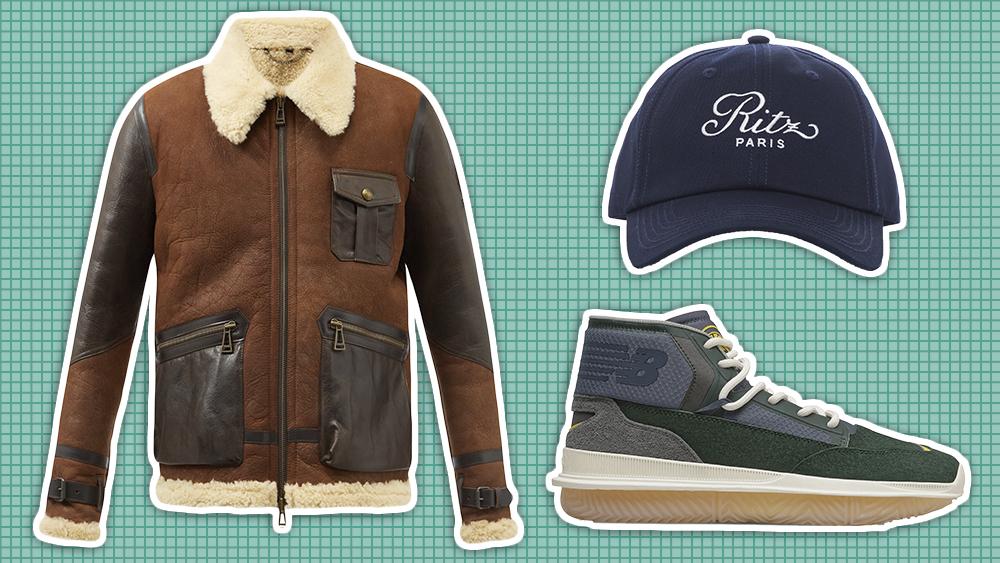 Belstaff jacket, Frame hat, New Balance sneakers