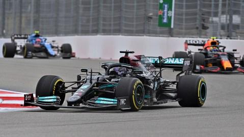 Lewis Hamilton competes in the Formula 1 Grand Prix of Russia