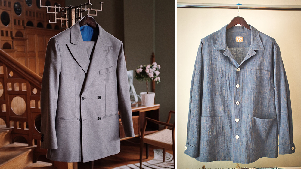 A double-breasted suit from Herrie's traditionally tailored iteration, and a chore coat from its latest collection ($300).