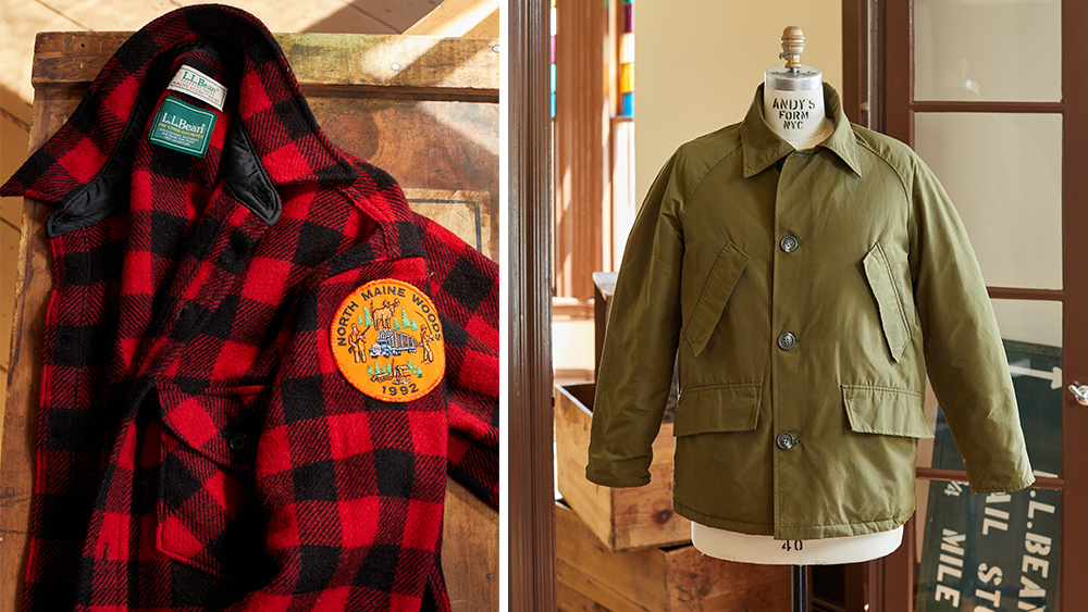 A 90s Maine Guide shirt, available on October 13, and a 70s Bean's Down Mackinaw, available on October 27th.