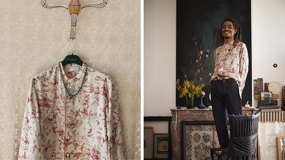 A silk shirt featuring a print from an 18th century copper-engraved camisole.
