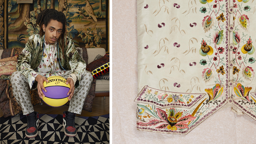 A model wear several of the historic prints together in one ensemble.
