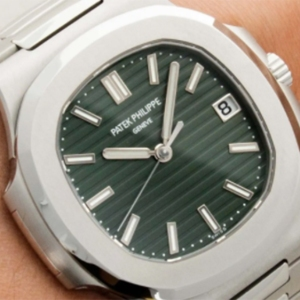 Patek Philippe Nautilus Ref. 5711/1A-014 with an olive green sunburst dial